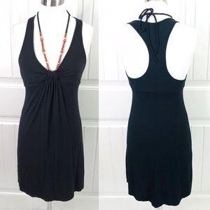 Guess Black Racerback Halter Mini Dress Wood Beads